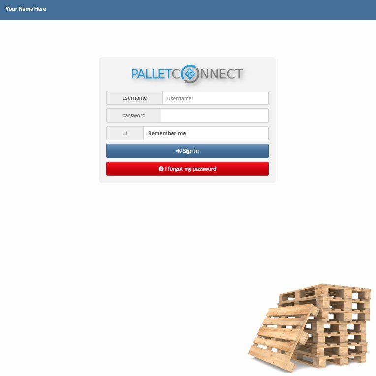Pallet Connect Software Login Screen