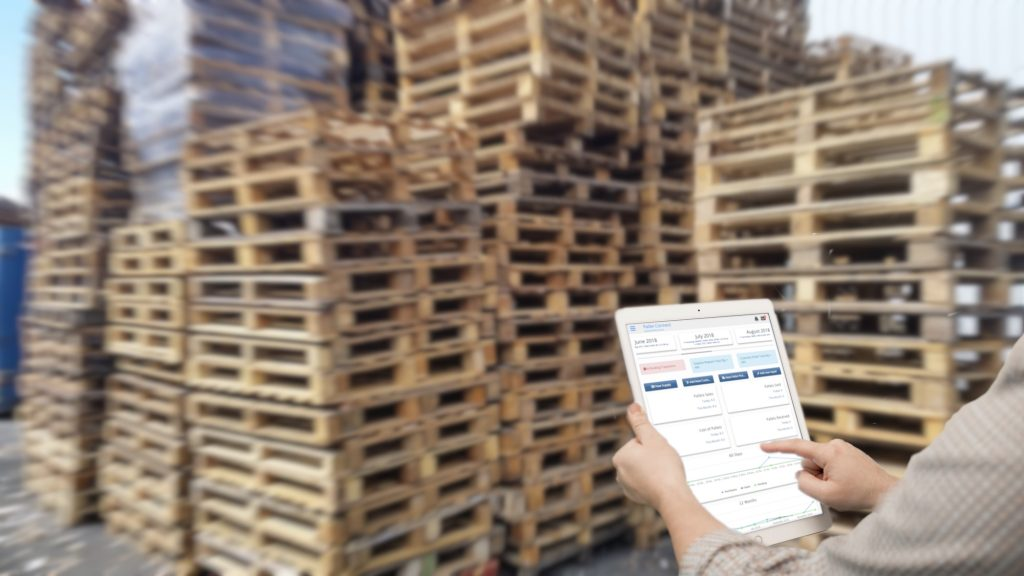 Tablet on front of pallets